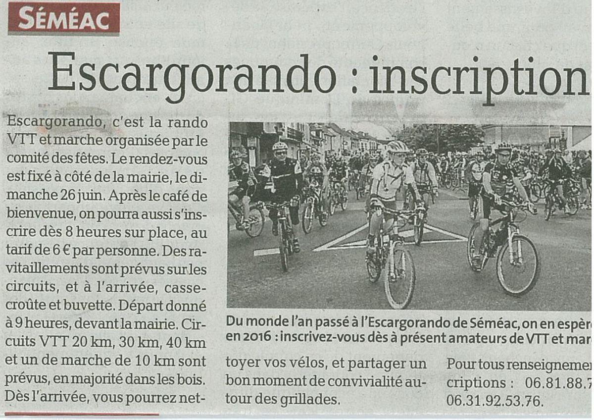 Dimanche 26 juin EscargoRando à Séméac