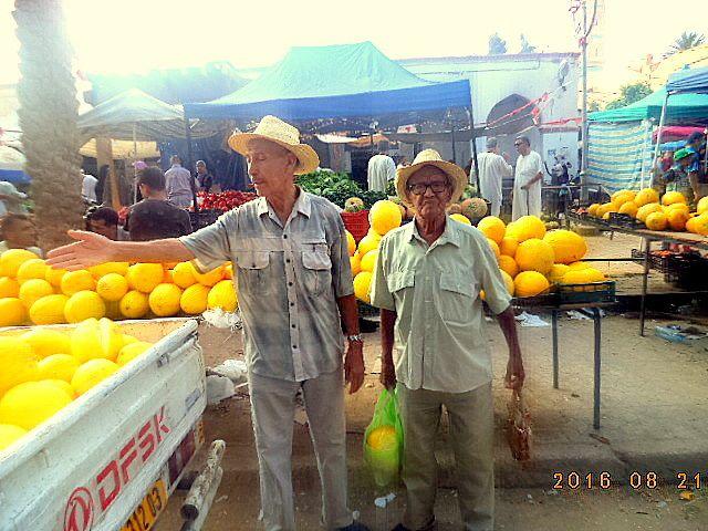 Les 2 inséparables hadj Boubakeur et hadi Mabrouk en train de choisir des melons à 150  DINARS la pièce