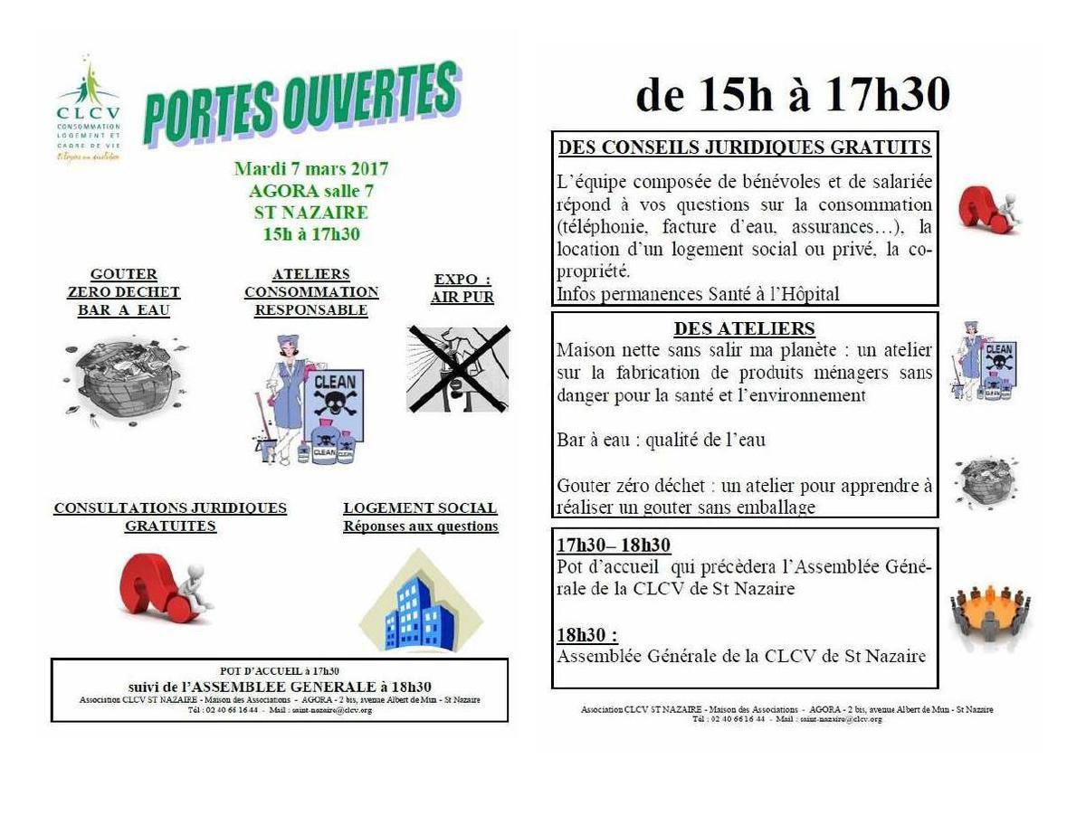 Portes ouvertes et Assemblée Générale de la CLCV de Saint-Nazaire le 07 mars 2017