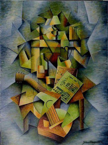 Peinture cubiste&#x3B; Acrylique, huile sur toile,  81/65 cm