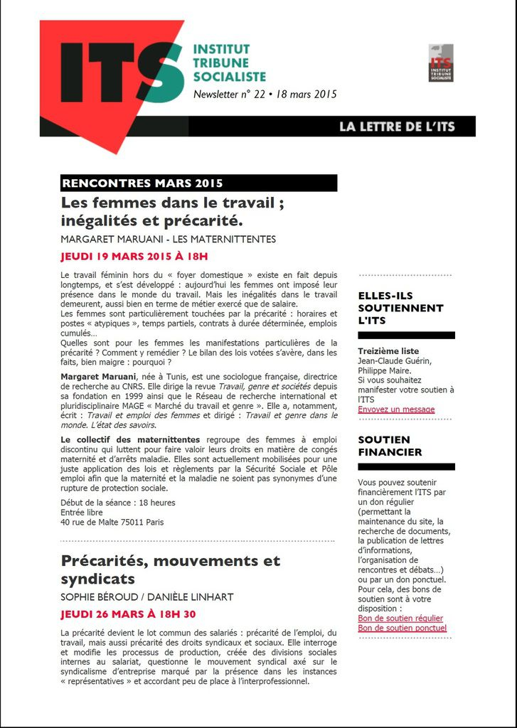 ITS LETTRE N° 22 MARD 2015