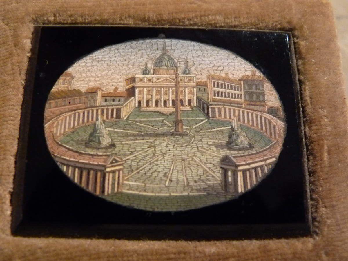 Plaque en Micro-Mosaique, Le Vatican, Italie, 19ème Siècle