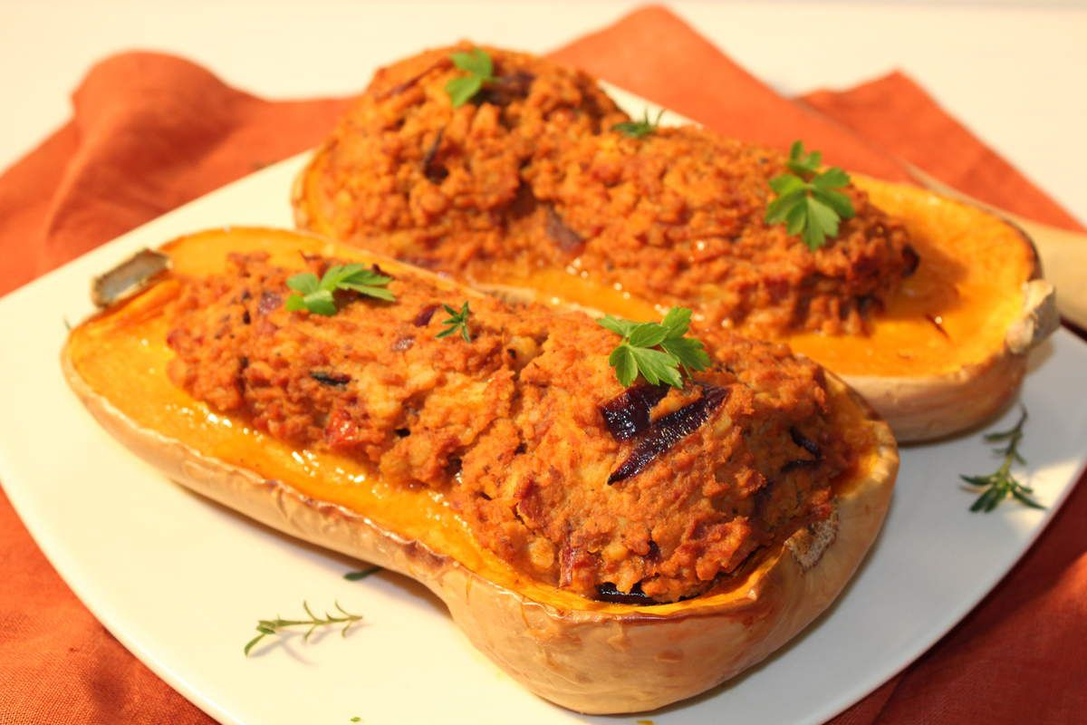 courge butternut farcie végan - prends en de la graine
