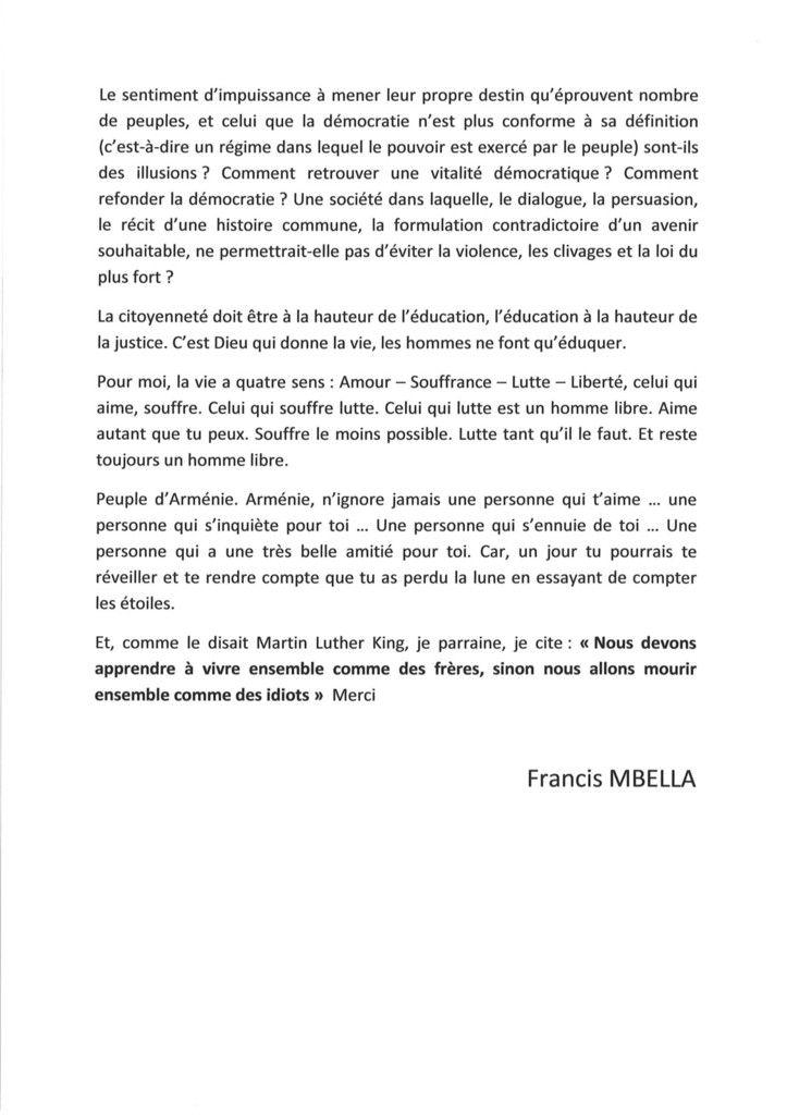 """""""COLLOQUE"""", SUR DEUX CENTENAIRES, RENAISSANCE FRANCAISE & GENOCIDE ARMENIEN (1915-2015): DISCOURS DE FRANCIS MBELLA, HÔTEL ETOILE SAINT-HONORE PARIS 8ème SAMEDI 19 SEPTEMBRE 2015"""