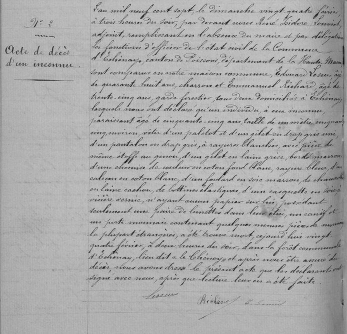 CAUCHEMARS DE GÉNÉALOGISTE - ECHENAY 1692 et 1907