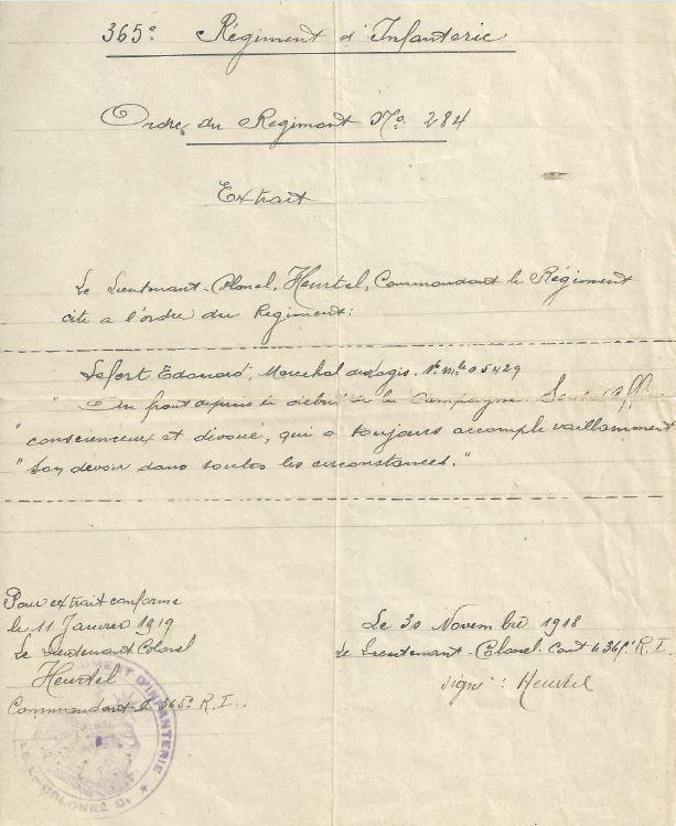 Citation à l'Ordre du 365eme RI