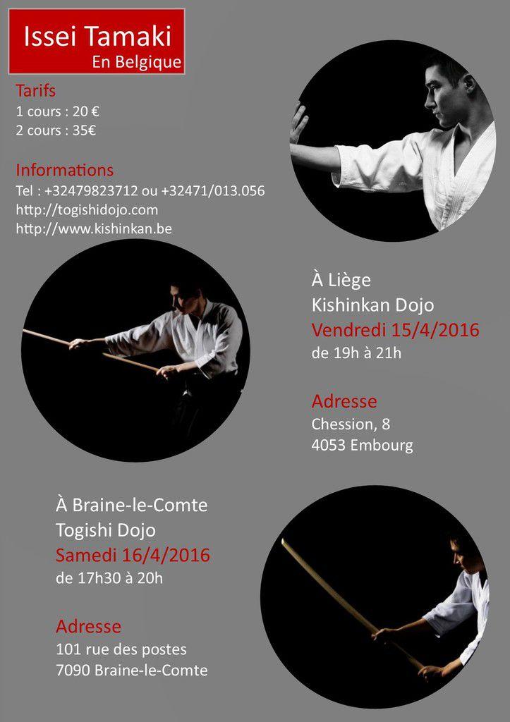 Issei Tamaki à Liège et à Braine-Le-Comte, 15 et 16 avril