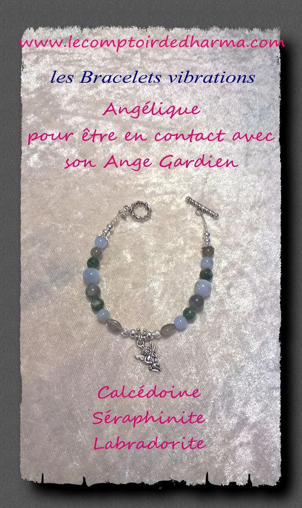 Bracelet Charme & Symbole ANGÉLIQUE, trois pierres fines pour être en connexion avec le monde angélique et la protection des anges.