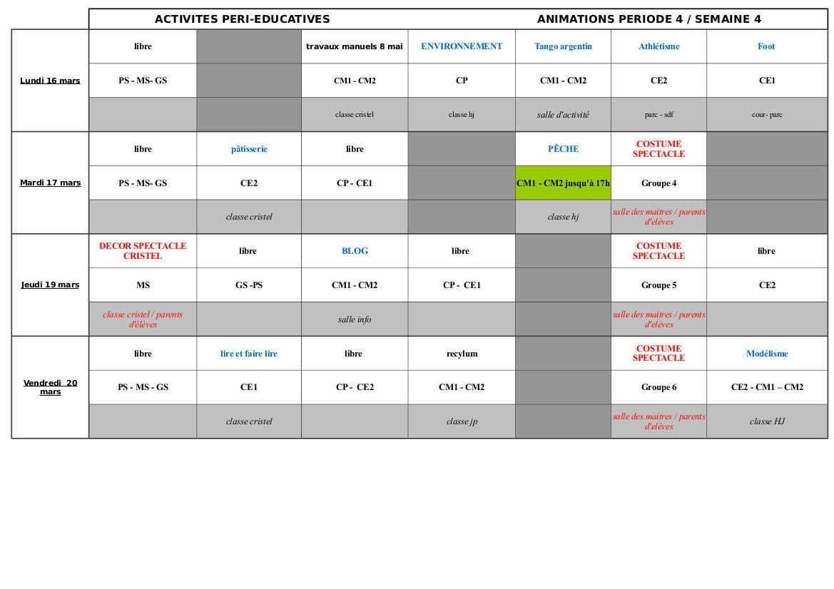 Le programme des activités péri-éducatives de la semaine