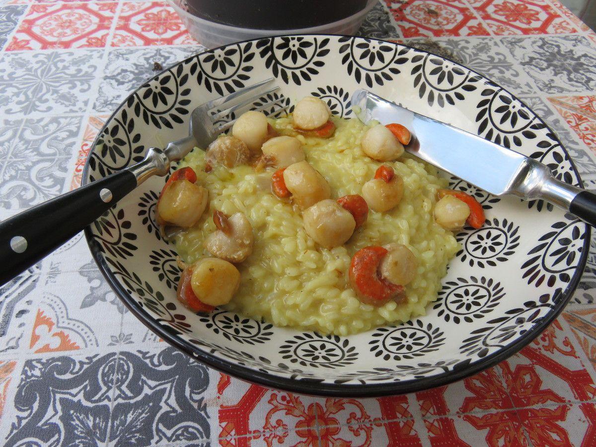 Mon risotto safrané aux noix de saint Jacques
