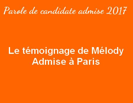 Le témoignage de Mélody – admise à Paris