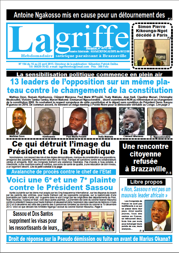Le journal La Griffe N° 194 du 16 au 22 avril 2015