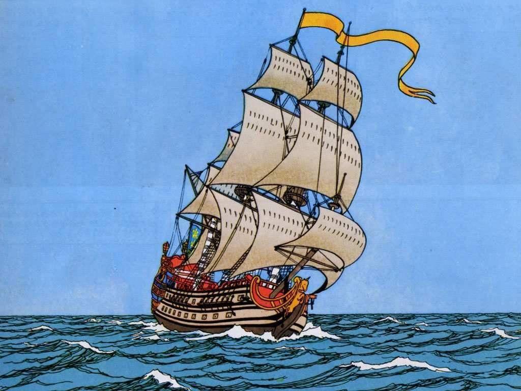 Coloriage Bateau La Licorne Tintin.Navire Negr Top Ecrans Sicilfly