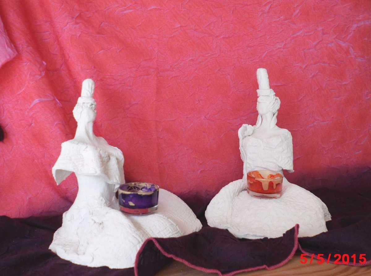 """Sculptures """"les contemplatives""""Nath et Noémie"""