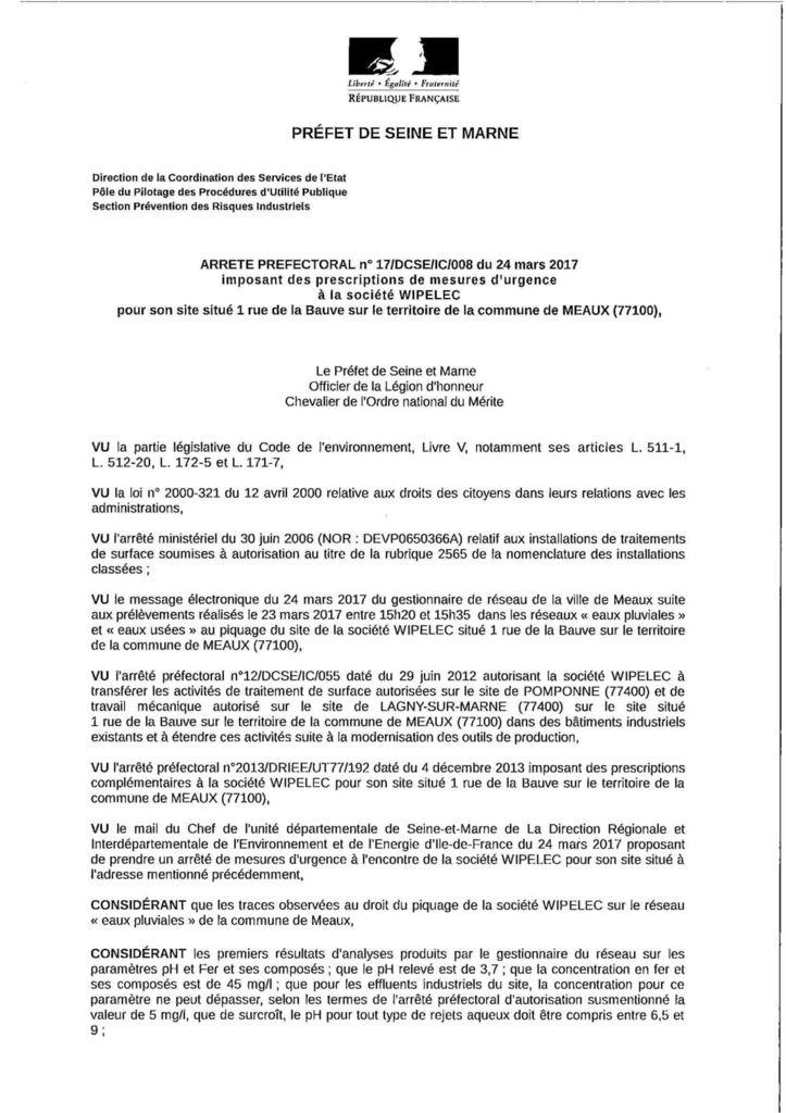 Pollution WIPELEC - Après la pollution de la CRÈCHE, la pollution du site NATURA 2000 - Les boucles de la Marne !