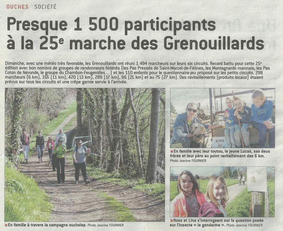 Le Progrès - Lundi 27.03.2017 - Ouches - marche des Grenouillards