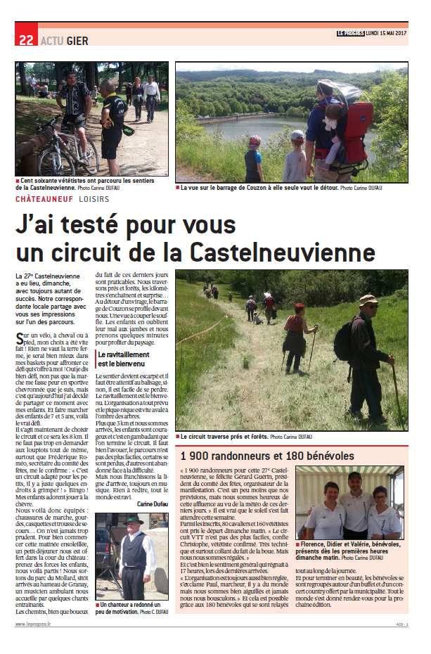 Le Progrès - Lundi 15.05.2017 - Châteauneuf - la Castelneuvienne