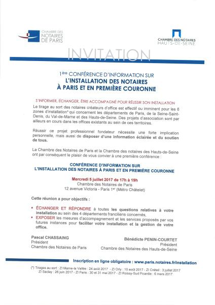 CONFERENCE SUR L'INSTALLATION DES NOTAIRES A PARIS