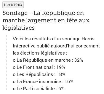SONDAGE : LA REPUBLIQUE EN MARCHE LARGEMENT EN TÊTE