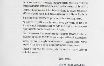 LE MESSAGE CORROSIF D'UN PRÉSIDENT DE CHAMBRE : les &quot&#x3B;notaires Macron&quot&#x3B; savent à quoi s'attendre