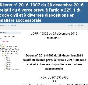 LE DÉCRET DU 28 DÉCEMBRE 2016 RELATIF AU DIVORCE