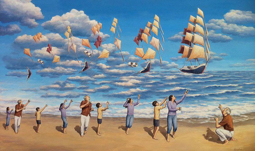 illusions des bateaux entre ciel et mer