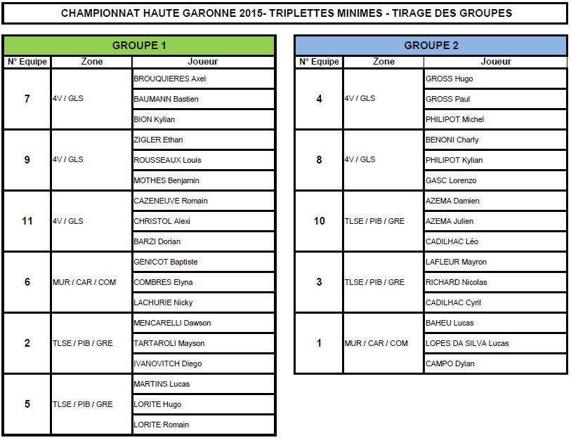 Championnats Triplettes Jeunes de la Haute-Garonne à LEGUEVIN (Tirage des poules)