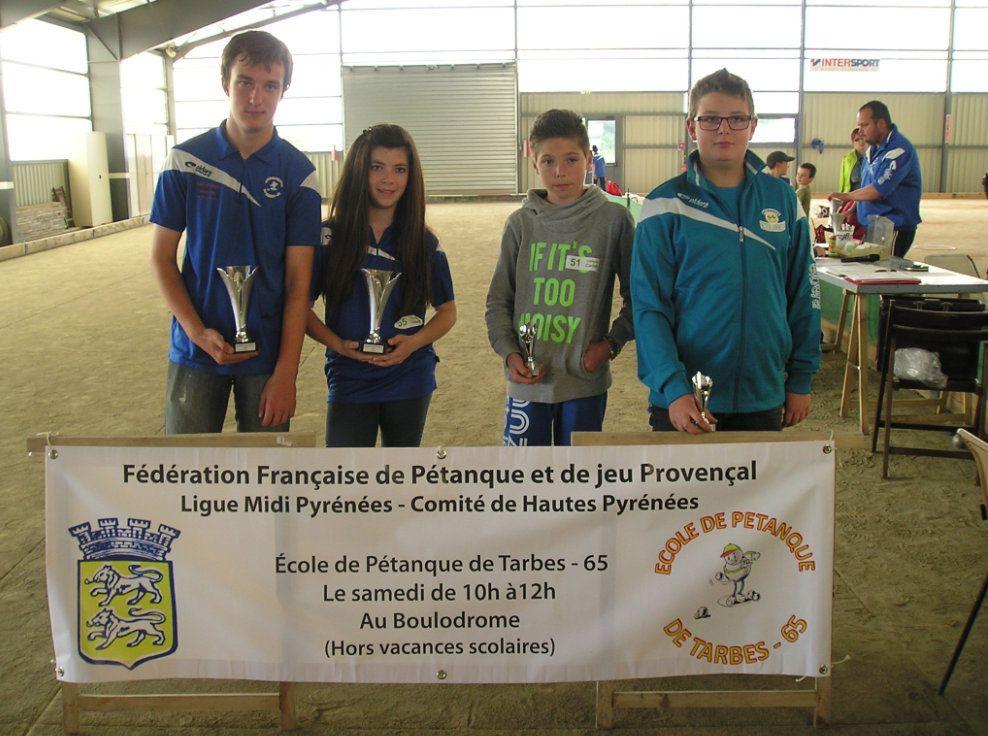 Les Champions et Vice Champions Cadets - de gauche à droite: PEREZ Lucas, LALANNE Mélissa, COURBY Lucas, VILLEMUR Anthony