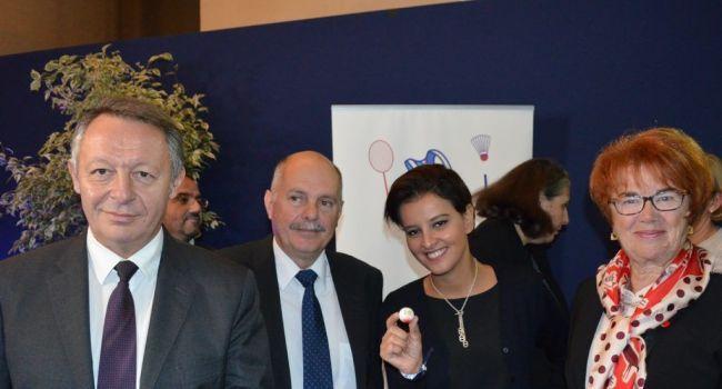 De gauche à droite : Thierry Braillard, secrétaire d'Etat aux Sports, Alain Cantarutti, Président FFPJP, Najat Vallaud-Belkacem, ministre de l'Education nationale, Lucette Coste, référente USEP de la FFPJP.