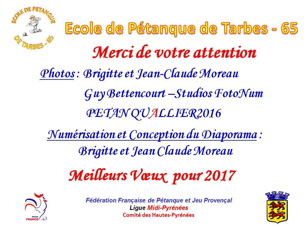 Présentation de l'école de pétanque de Tarbes (65) année 2016