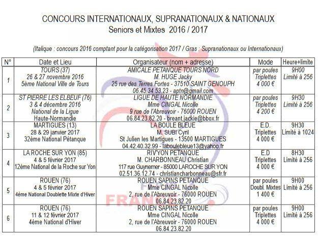 CALENDRIERS DES CONCOURS SENIORS MASCULINS ET MIXTES 2017