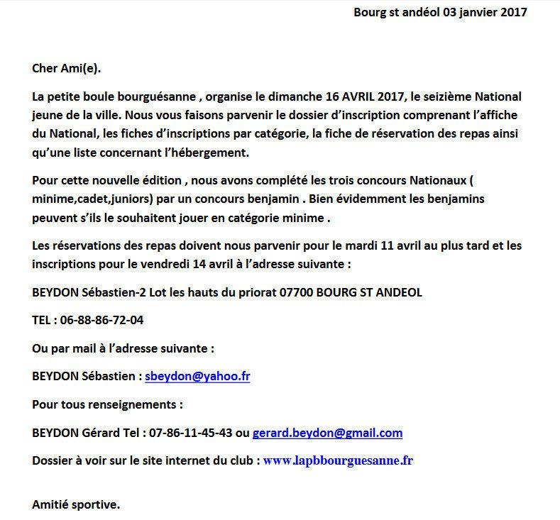 LE XVI° NATIONAL DE BOURG Saint Andéol JEUNES sera la IV° étape du Challenge EDUCNAUTE JEUNES
