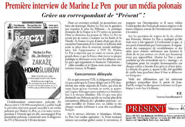 Une interview de Marine Le Pen sur un média polonais.