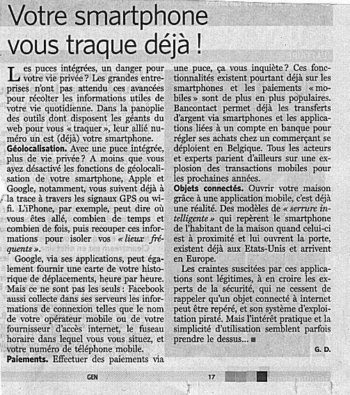 Article du Soir du 19 février 2015.