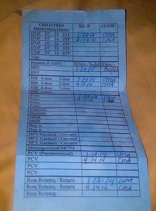 Carnet de vaccination de JaLiyah