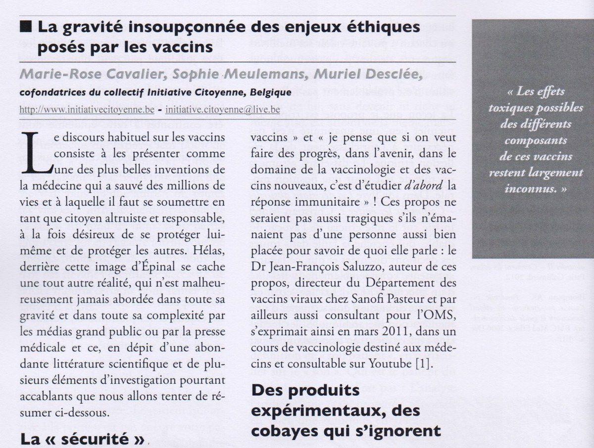 La gravité insoupçonnée des enjeux éthiques posés par les vaccins [article d'Initiative Citoyenne dans Ethica Clinica n°78 de juin 2015]
