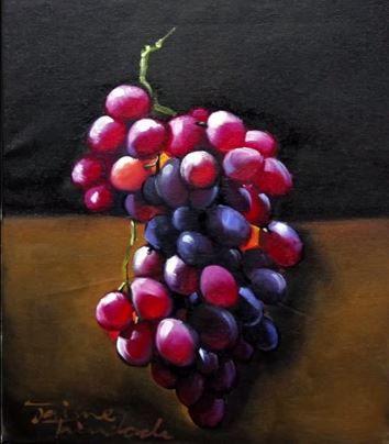 La grappe de raisins noirs