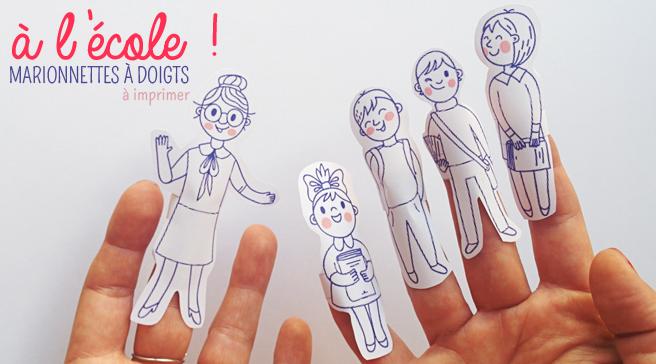 Gratuit : Pour jouer à la maîtresse, des marionnettes à doigt à imprimer. Dès 4 ans.