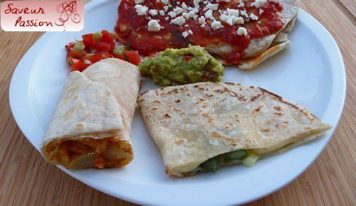Assiette mexicaine : enchiladas, quesadillas, pico de gallo, guacamole