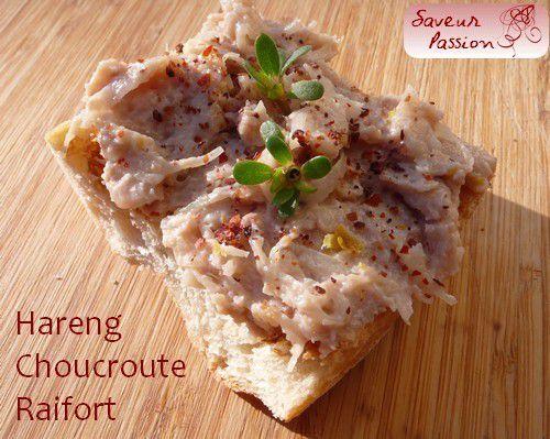 Rillettes de hareng et choucroute crue au raifort