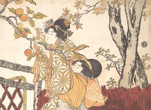Cueillette de kakis, détail, Kitagawa Utamaro, Japon, ca. 1803, Epoque d'Edo (1615–1868), Metropolitan Museum