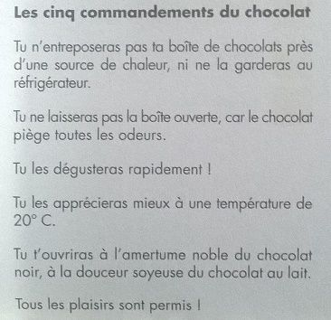 Les cinq commandements du chocolat par Jacques Genin