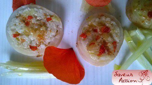 Encornet farci au riz et brandade, sauce vierge citron-coquelicot
