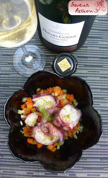 Salade de poulpe, carotte, fenouil, orange et cumin avec un Champagne 100% Meunier