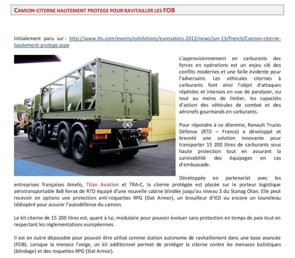 Véhicules et matériels : Renault Kerax citerne Titan haute protection