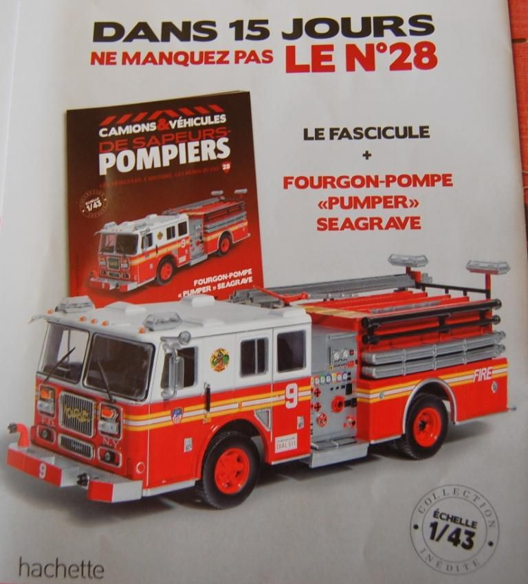 fourgon pompe pumper seagrave au 1 43 hachette ixo. Black Bedroom Furniture Sets. Home Design Ideas