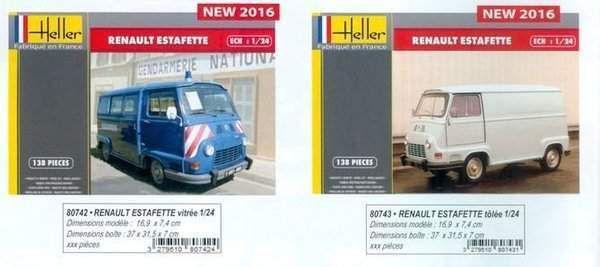 Catalogue Heller 2016 : une Renault Estafette Gendarmerie au 1:24