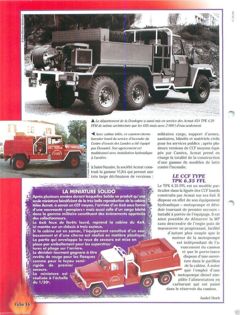 Fiches collections-presse sur les véhicules ACMAT