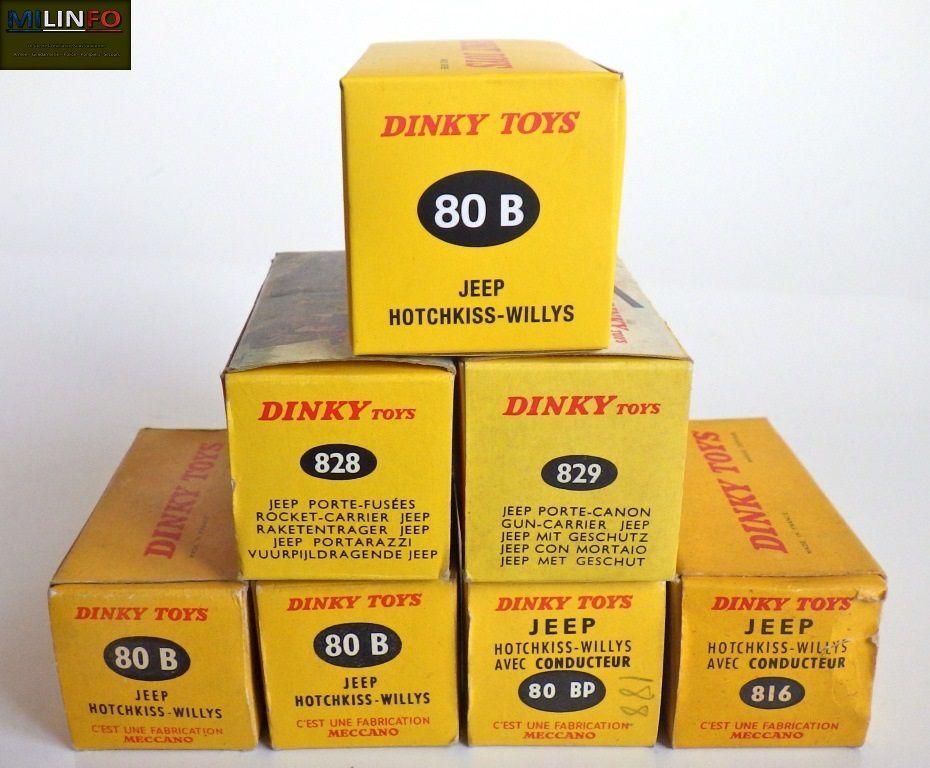 La famille des jeep DINKY TOYS France au grand complet avec leurs boites respectives et la réédition ATLAS