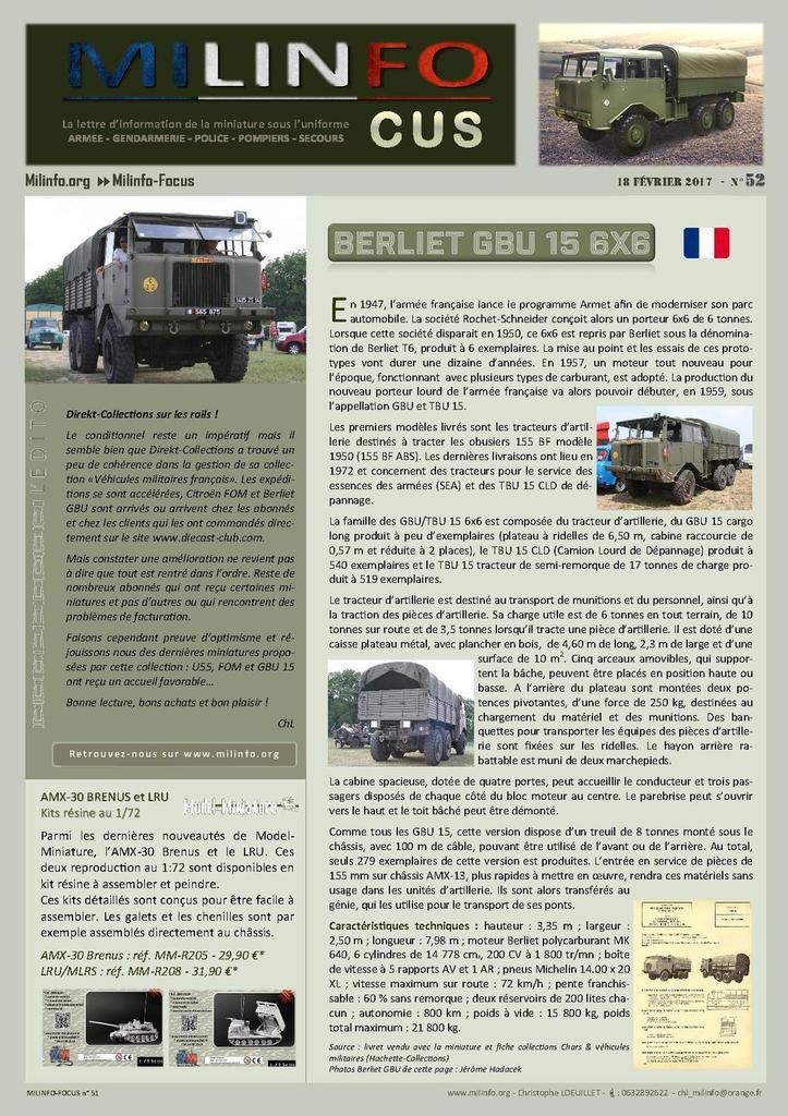 Milinfo-Focus n° 52 : le Berliet GBu 15 au 1/43 de chez Direkt-Collections